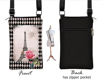 Cell Phone Case for iPhone 6 / Plus, Smartphone Phone Purse, Small Cross Body Bag, Eiffel Tower Pink Rose Paris pink zipper pocket RTS