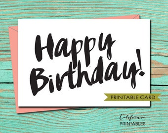 Happy Birthday PRINTABLE CARD, Happy Birthday Card, DIY Instant Download Card, Black and White Birthday Card, B-day Card, Birthday E-Card 3
