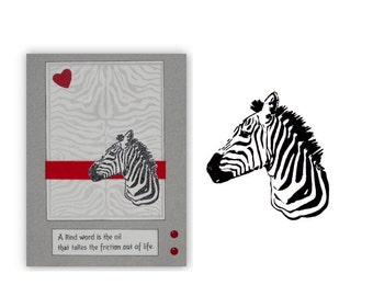 ZEBRA Bust Africa unmounted rubber stamp, animal, African expedition, safari, Serengeti, Sweet Grass Stamps No.17