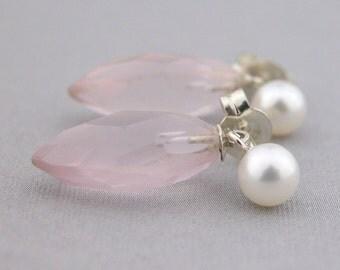 Pink rose quartz, AAA pearl, sterling handmade earrings