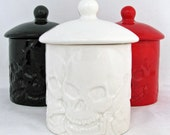 Small Round Skull Container and Lid Kitchen Skull Ware Sugar Bowl Salt Canister Candy Holder or Bath Vanity Container