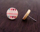 Stud earrings | Native American triangle print studs |  Green, red, brown on corn color | Surgical pins on upcycle button | Original gifts