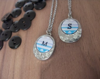 Personalized necklace | Tribal print in blue, white and grey | Gift for her.