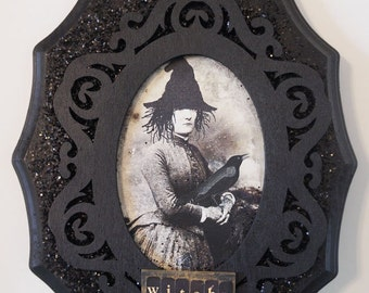 Halloween Witch Wall Art,  Original Whimsical Collage Art, Vintage Witch Decor , Black Art
