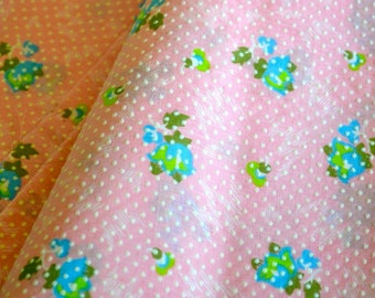 Classic Vintage Dotted Swiss Fabric Pink w/ Flowers