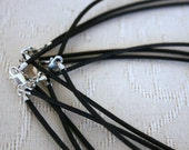 Necklaces - Bulk package of 15 black waxed cotton necklaces with clasps