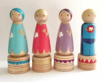 Tooth Fairy Box -- Hand-painted Peg Doll