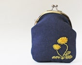 RESERVED for Jen T. - Card case coin purse dandelions on navy linen business card holder kiss lock purse yellow green
