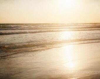 sunset photography, beach photography, orange home decor, beach cottage art, ocean photograph, beach decor, gulf of mexico, florida