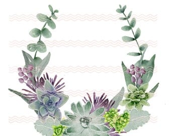 Printable Soft Watercolor Succulents Group 3 Clip Art Card Making Invites Scrapbooking Commercial Use  PNG 300 DPI
