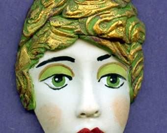 Polymer Clay One of a kind Detailed  Face Shard  with Textured Hat AHT1