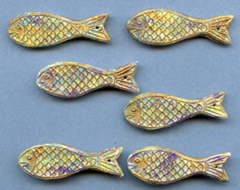 Polymer Clay Lot of 6 abstract Fish Beads Drilled  FSH 6