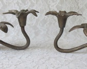 Vintage Solid Brass Flowers 2 Arm Silvestri Candleholders Special Occasions Entertaining Home Decor Set of 2