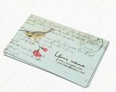 Business Cards  Custom Business Cards  Personalized Business Cards  Business Card Template  Vintage Business Cards  Bird Business Card V3