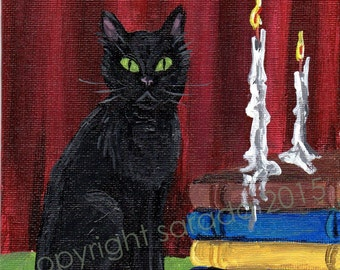 Black cat original art acrylic painting 5 x 7 library books candle witch pagan animal witchcraft occult