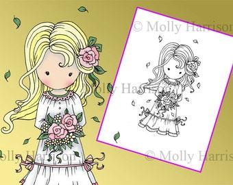 Little Flower Girl - Digital Stamp - Printable - Molly Harrison Fantasy Art - Digi Stamp / Coloring Page - Instant Download