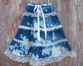 Bleached Denim Skirt with Ruffled Lace Girls Size Small Recycled Upcycled 22 waist