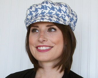 Womens Newsboy Hat - Womens Hats - Blue and White Hounds tooth - Womens Caps - M