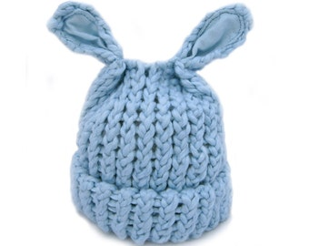 Organic Cotton Knit Baby Hat in Blue Lamb Ears Newborn to Infant Size Baby Boy Gift Photography Prop