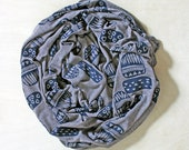 Screen Printed Jersey Scarf in Heather Coffee with Tiki Print in Navy