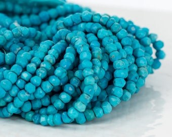 Turquoise Beads, Faceted Turquoise Bead Strand - Natural Blue Turquoise Beads - 4.5mm Beads - Item 284
