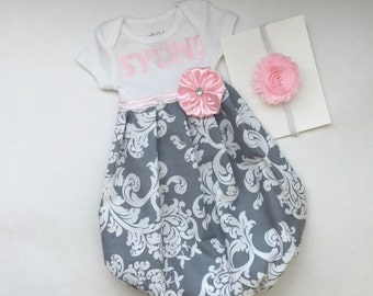 Boutique pink and grey Damask baby GOWN..one piece .. PERSOANLIZED.. girls clothing..new baby