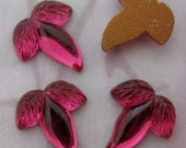 12 pcs. vintage glass foiled ruby red leaf acorn flat back cabochons 8x7.5mm - f4689