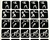 Dichroic Fused Glass Etching Stencils, Vinyl Sports People Stencils, With PDF Tutorial for Etching Dichroic Glass