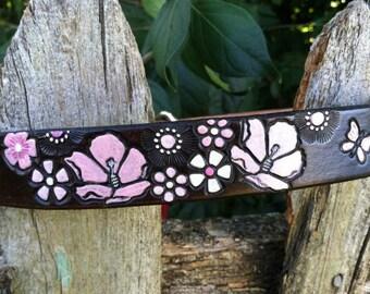 Boho Dog Collar - Leather - Dog Collar - Flowers