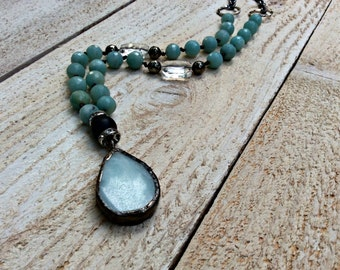 Cool Blue Soldered stone bohemian layering necklace