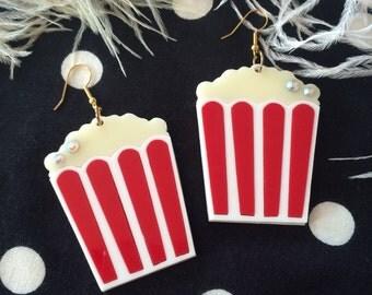 Popcorn Laser Cut Acrylic Earrings