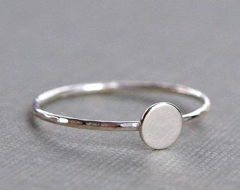Tiny Silver Ring , Plain Sterling Silver Circle Ring , Simple Silver Ring , Sterling Silver Ring