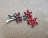 Vintage Pink Rhinestone Flower Pewter Tone Bow Brooch Pin . B15