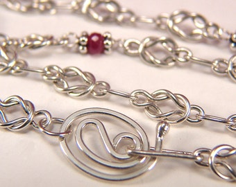 """Celtic and Ruby, Nautical 20"""" Chain/ Argentium Silver"""