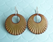 Golden Green Enamel Earrings - Copper with Vitreous Enamel and Sterling Silver Ear Wires - CC Star