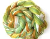 Merino Roving Fields of Gold -  Luxury Merino Wool and Silk Blend Top 50g 100g