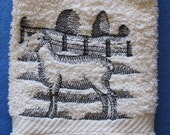 Sheep with Fence Black Outline Ivory Bath Hand Towel