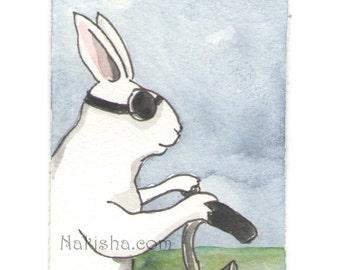 Original Watercolor Rabbit Painting - Riding - ACEO