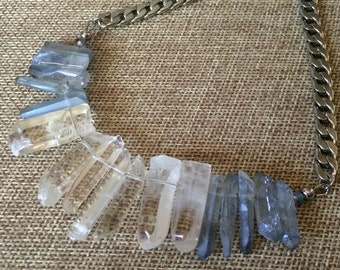 Icy Blue and Clear Crystal Point Bib Necklace - Mystic Blue and Clear Crystal Quartz Points on Silver Curb Chain - Statement Necklace