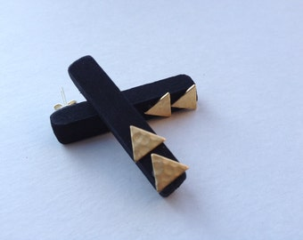 Black hex post earrings