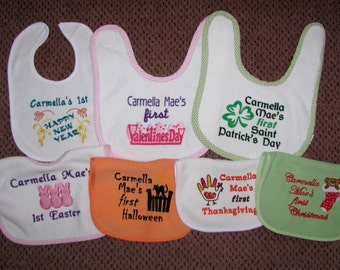 The Ultimate Personalized Holiday Set of 7 Bibs.