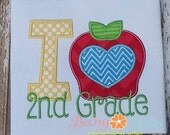 I Heart Apple 2nd Grade 4x4, 5x7, 6x10, 8x8