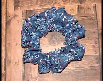 Prairie Girl Bandana Hair Scrunchie, Country Bandanna Ponytail Holder, American Traditional Hair Tie, Prairie Blue