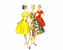 1950s Womens Full Skirt Cocktail Dress McCallls 4965 Vintage Sewing Pattern Misses Full Figure Size 18 Bust 38