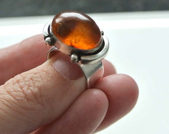 Amber and Sterling Silver Ring size 6 SALE