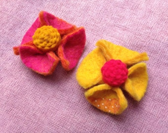 SALE: 2 Felted Flower Pins by PenFelt