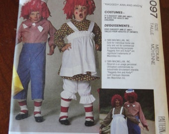 Vintage 80s McCalls 4097 Raggedy Ann and Andy Costume Sewing Pattern size M Adult UNCUT