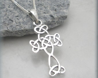 Celtic Cross Necklace, Irish Celtic Cross, Easter Gift, Religious Jewelry Celtic Knot Irish Jewelry Easter Necklace Sterling Silver
