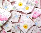VINTAGE PARAGON CHINA hc China Mosaic Tiles Set with hp White Daisies & Pink Flowers, Gray Polka Dots + Pink and Blue Roses with gray ferns