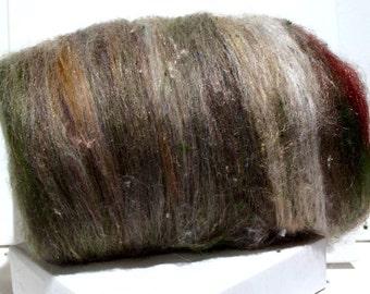"""fiber art batt, felting, spinning, """"Desert Chico"""", roving, silver, grey, mint green, leaf green tan, white, brown"""